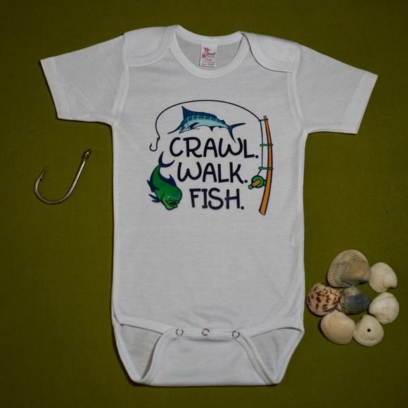 Crawl Walk Fish Baby onesie